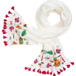 Tory Burch Fish Embroidery Scarf