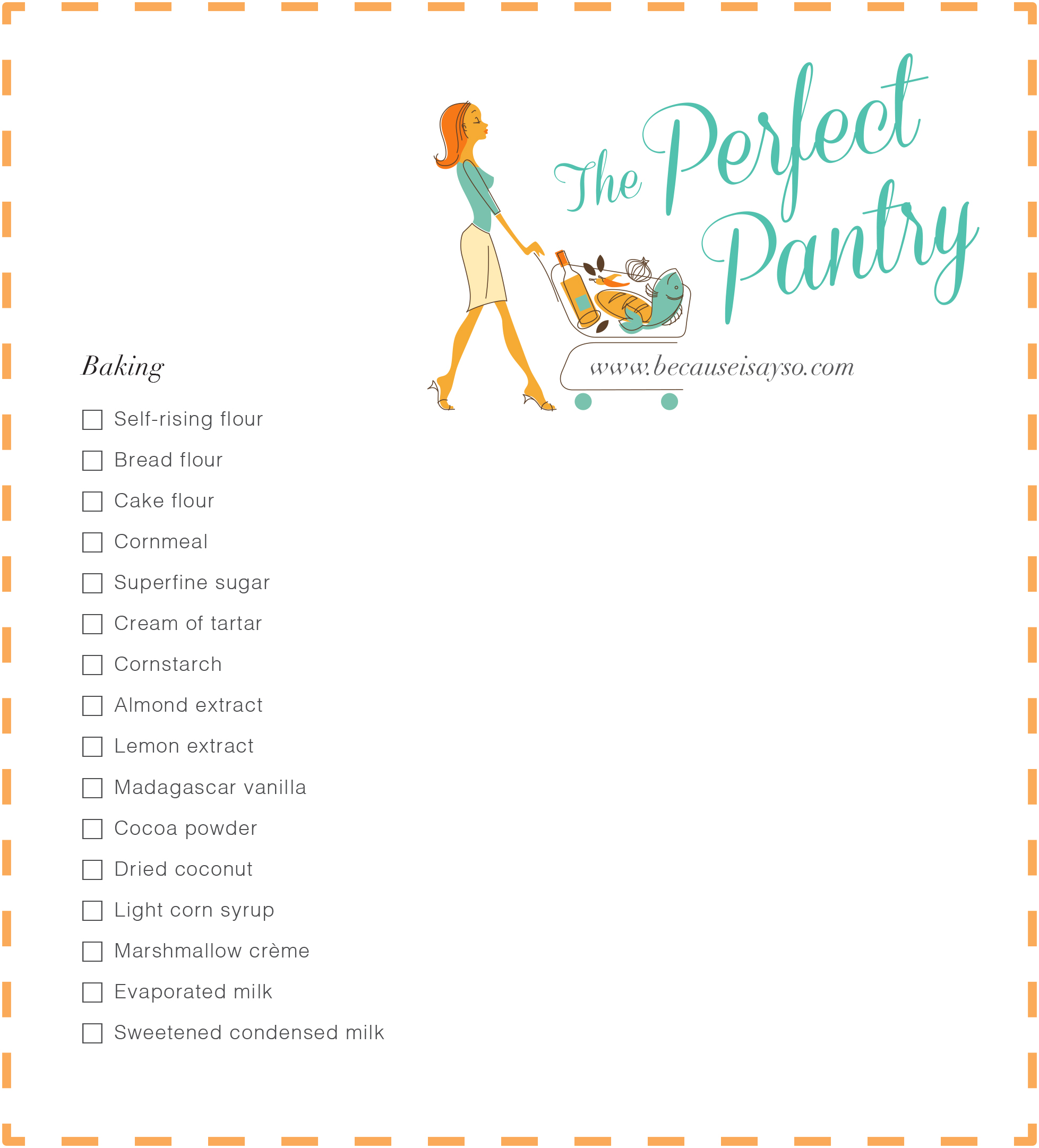 Perfect Pantry Shopping List Baking