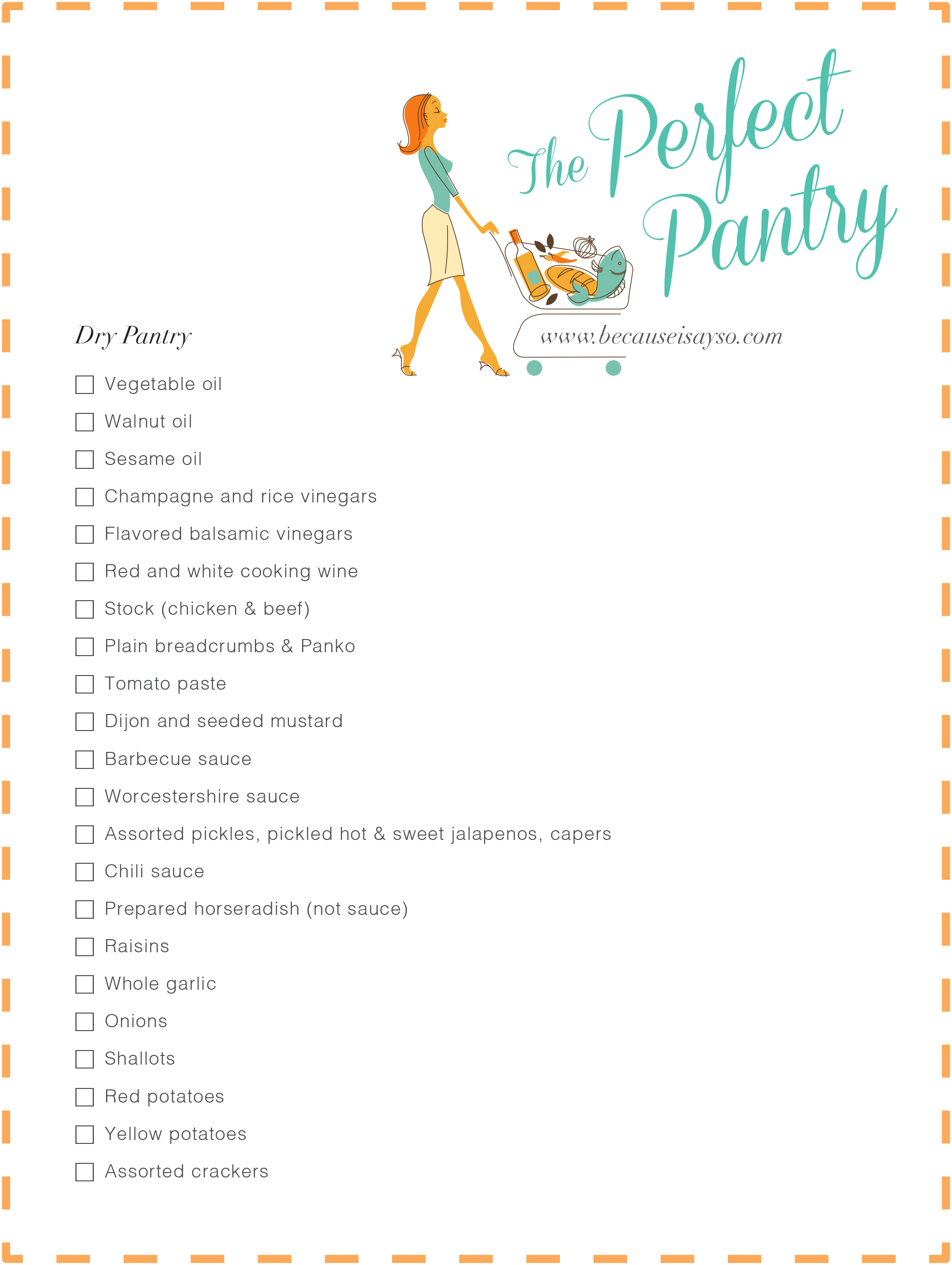 Perfect Pantry Shopping List Dry Pantry