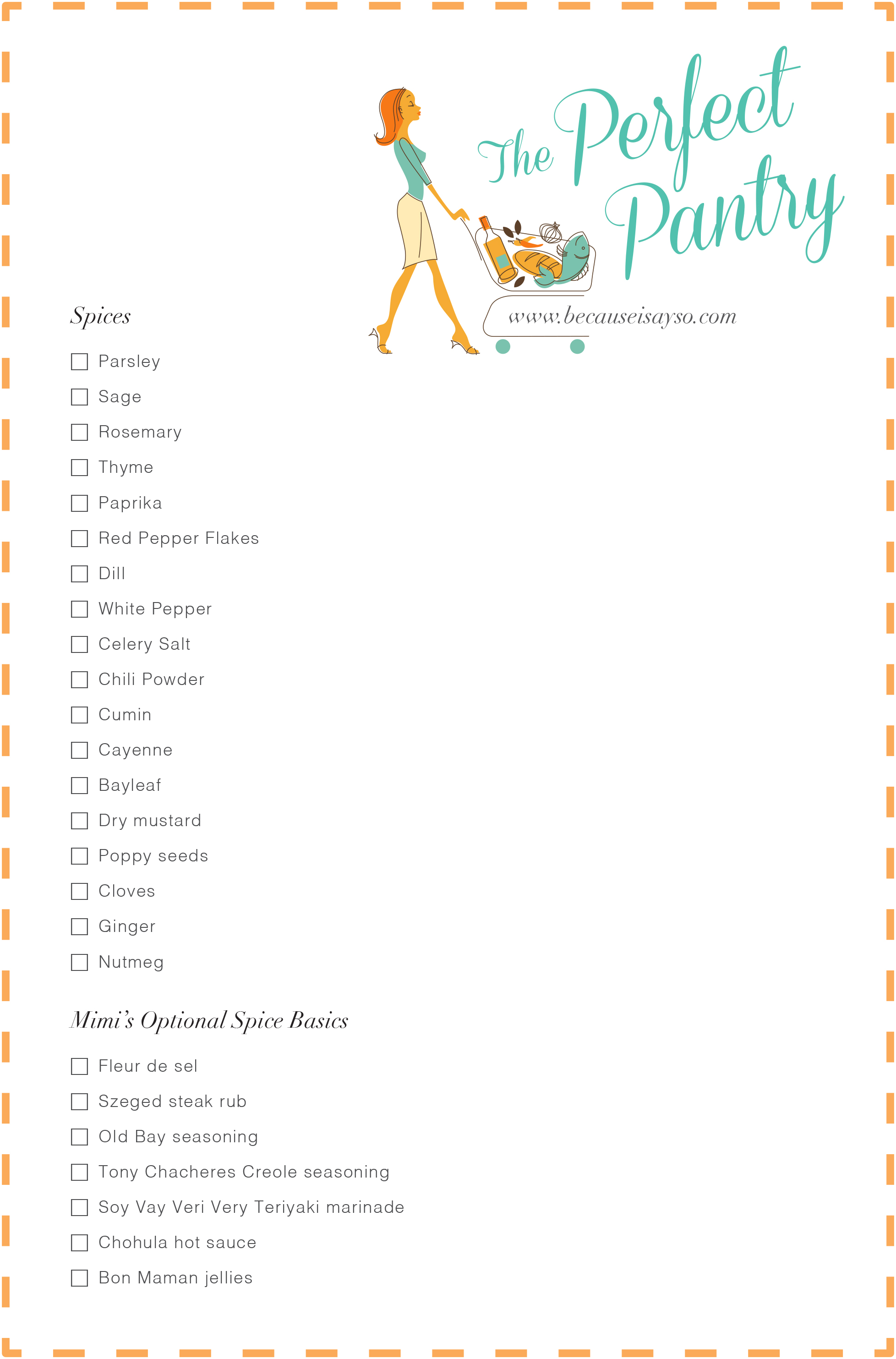 Perfect Pantry Shopping List Spices
