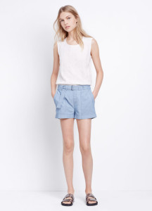 Vince Belted Soft Chambray Short